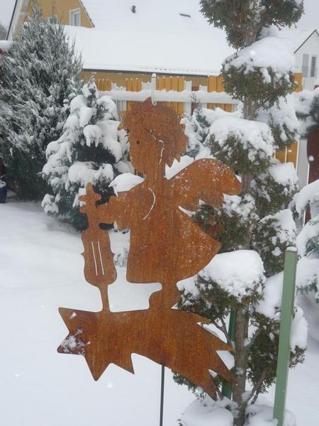 Engel mit geige edelrost 80 cm gro edelrost aus corten for Engel edelrost