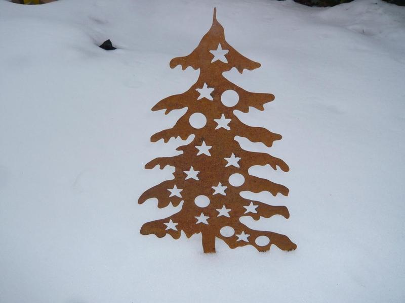 Rostiger Tannenbaum.Weihnachtsbaum Edelrost Mit Kugeln 0 63 M