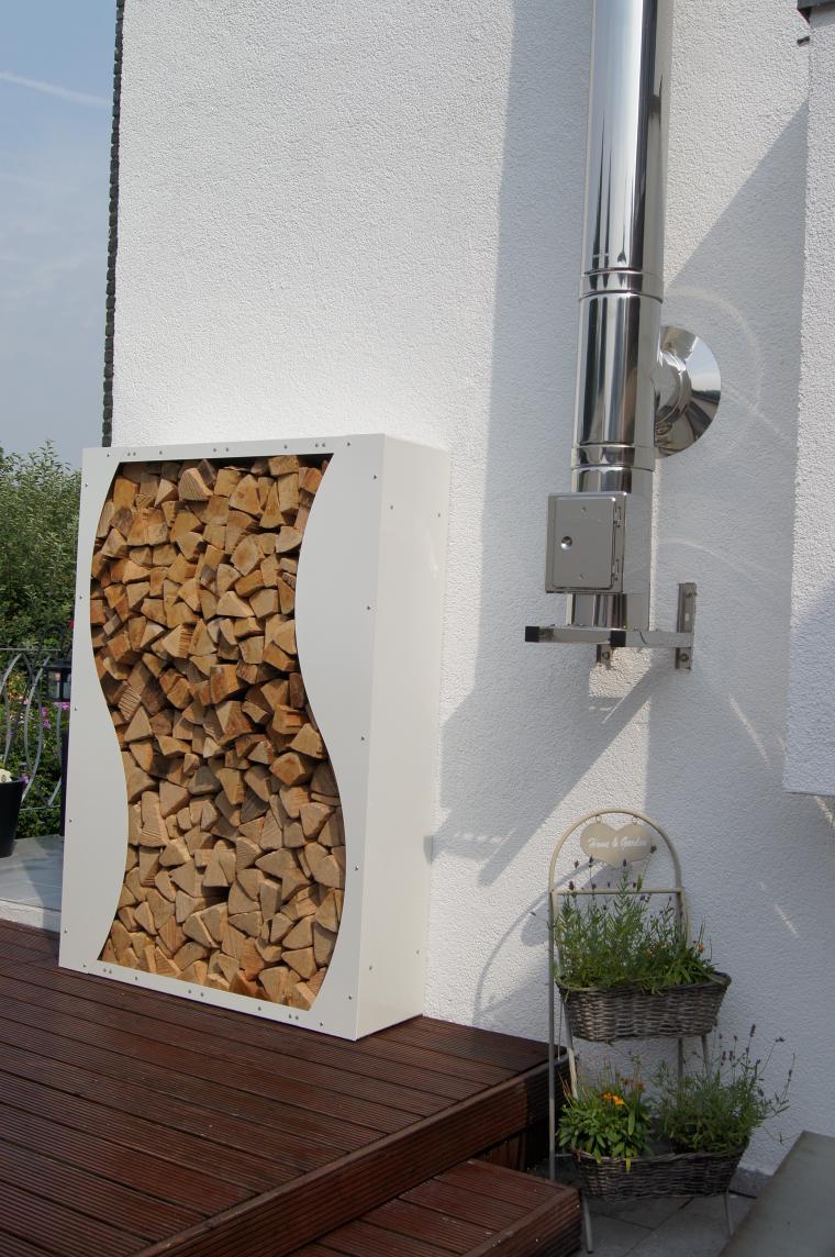 kaminholzregal 1 7 mx 1 2 m x 0 35 m oberfl che pulverbeschichtet nach farbkarte mit dekor. Black Bedroom Furniture Sets. Home Design Ideas