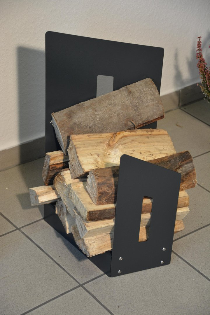 kaminholzregal metall innen schr g 0 6 m. Black Bedroom Furniture Sets. Home Design Ideas