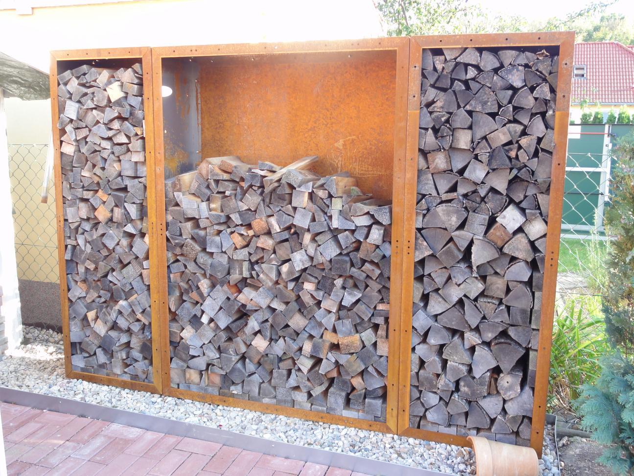 kaminholzregal metall 1 5 m x 1 2 m x 0 35 m oberfl che edelrost. Black Bedroom Furniture Sets. Home Design Ideas