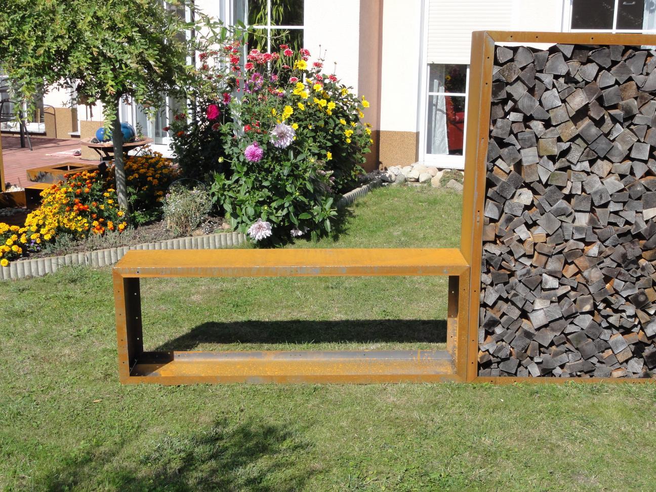 Kaminholzregal außen  Kaminholzregal Metall 1,9m x 1,0 m x 0,35 m Oberfläche Edelrost