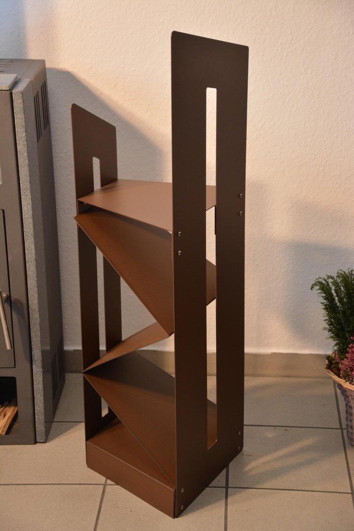 kaminholzregal schr g 1 15 m mit einsatz aus metall. Black Bedroom Furniture Sets. Home Design Ideas