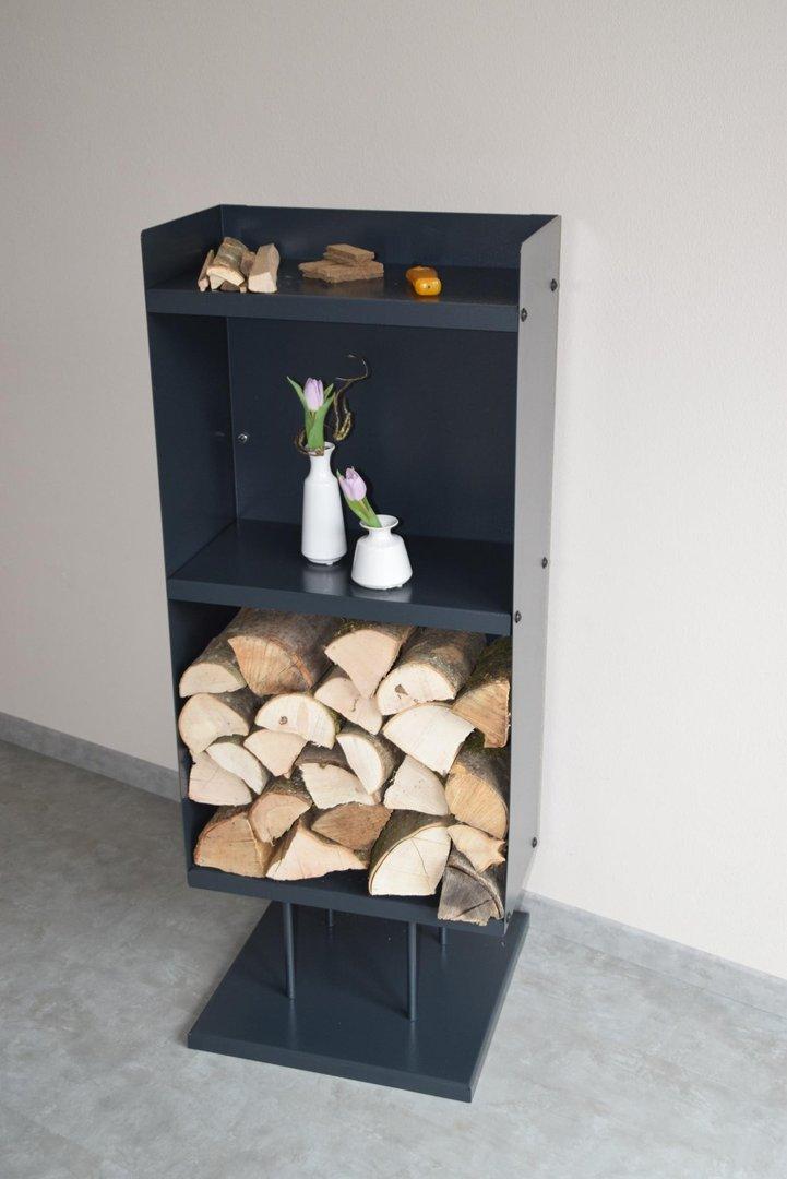 kaminholzregal blechdesign breit 50 cm mit standfu aus metall. Black Bedroom Furniture Sets. Home Design Ideas