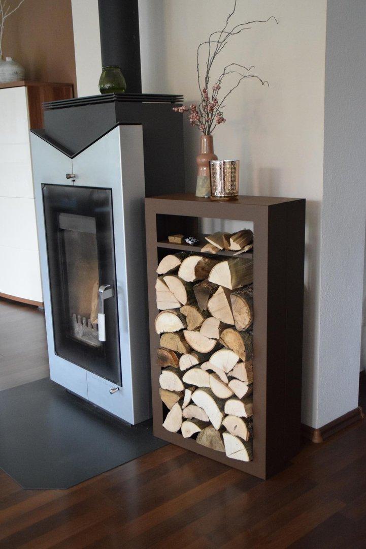 kaminholzregal rechteck innenbereich mit anfeuerholzfach aus metall. Black Bedroom Furniture Sets. Home Design Ideas