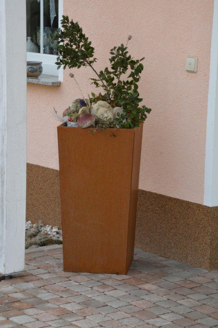 Pflanzkübel Blumenkübel 37 x37 x 105 cm corten edelrost