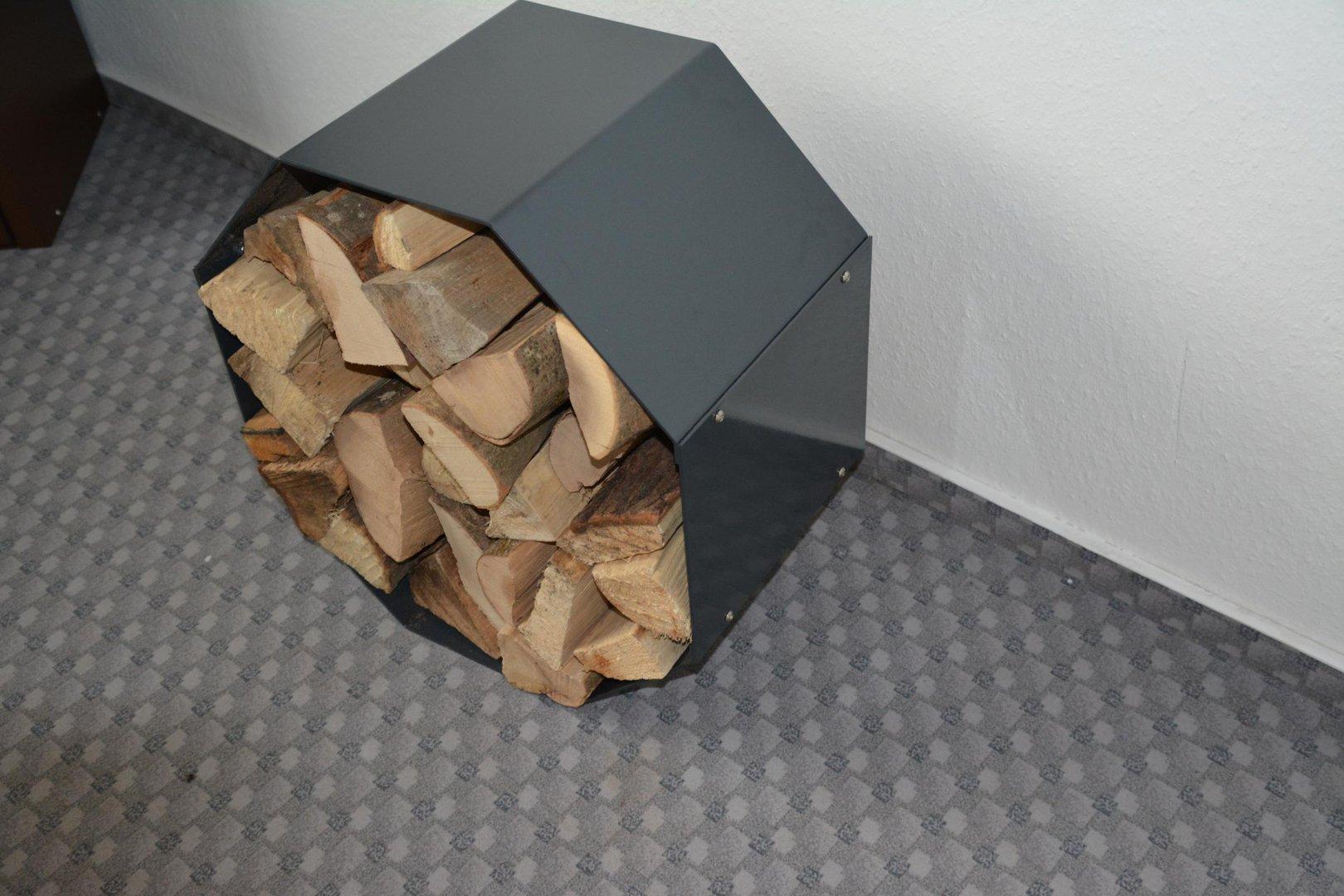 kaminholzregal metall innen achteck. Black Bedroom Furniture Sets. Home Design Ideas