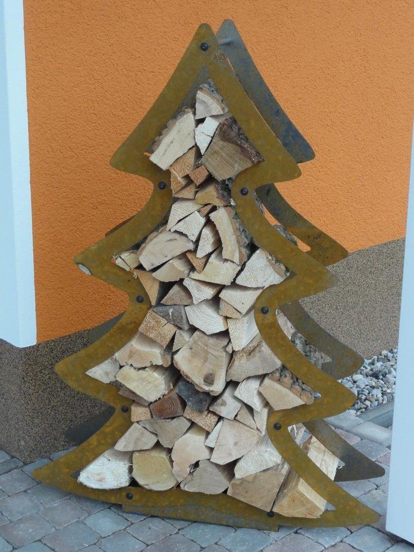 kaminholzregal weihnachtsbaum tannenbaum edelrost. Black Bedroom Furniture Sets. Home Design Ideas
