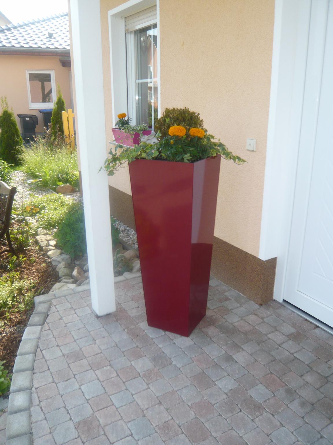 Pflanzkübel Blumenkübel Schräg 39x39 Cm Versch Höhen Beschichtet