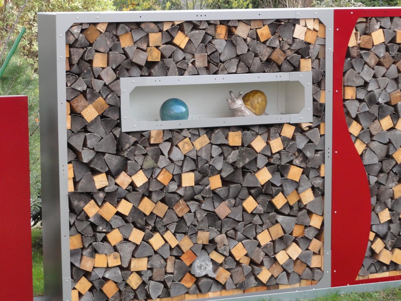 Holzaufbewahrung Außen fenster kaminholzregal mit rückwand 1 2 m x 0 3m x 0 35 m