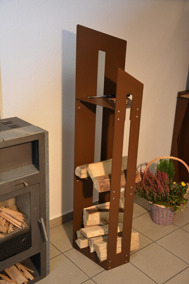 kaminholzregal metall innen schr g 1 5 m. Black Bedroom Furniture Sets. Home Design Ideas
