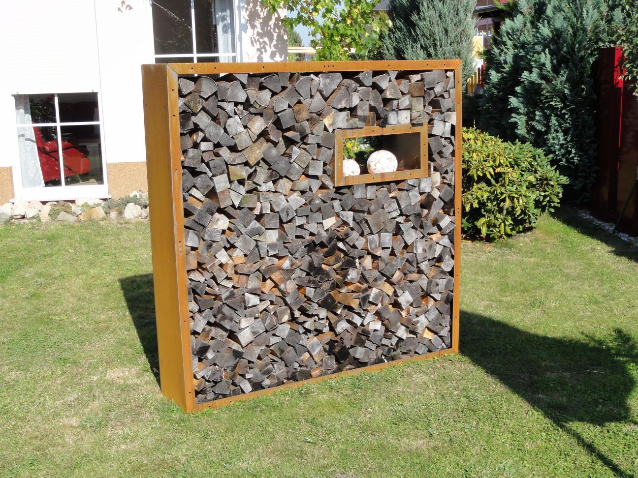 kaminholzregale aus metall f r den au enbereich langlebig u sch n. Black Bedroom Furniture Sets. Home Design Ideas