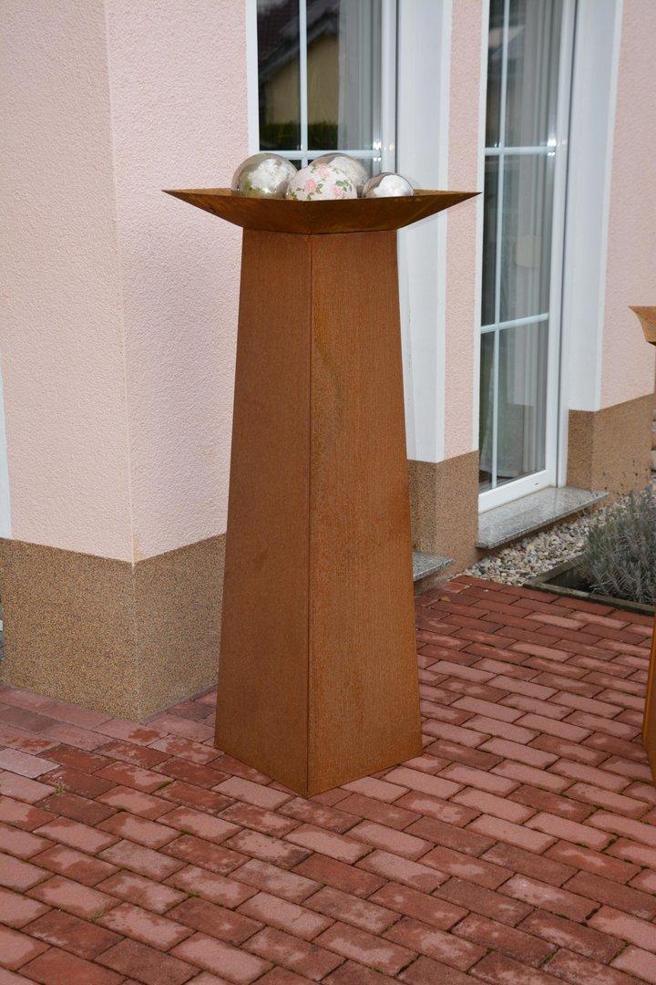 pflanzs ule dekos ule blumens ule 37x37x140 cm corten edelrost. Black Bedroom Furniture Sets. Home Design Ideas