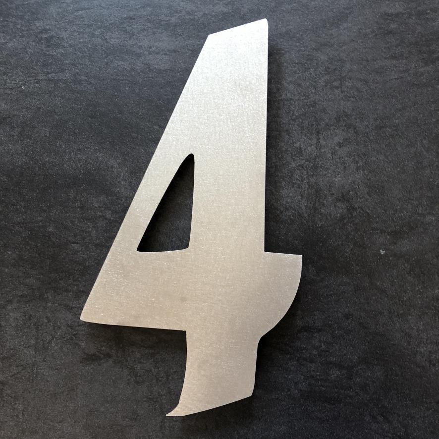 hausnummer aus edelstahl h he 50 cm modern hausnummer 4. Black Bedroom Furniture Sets. Home Design Ideas