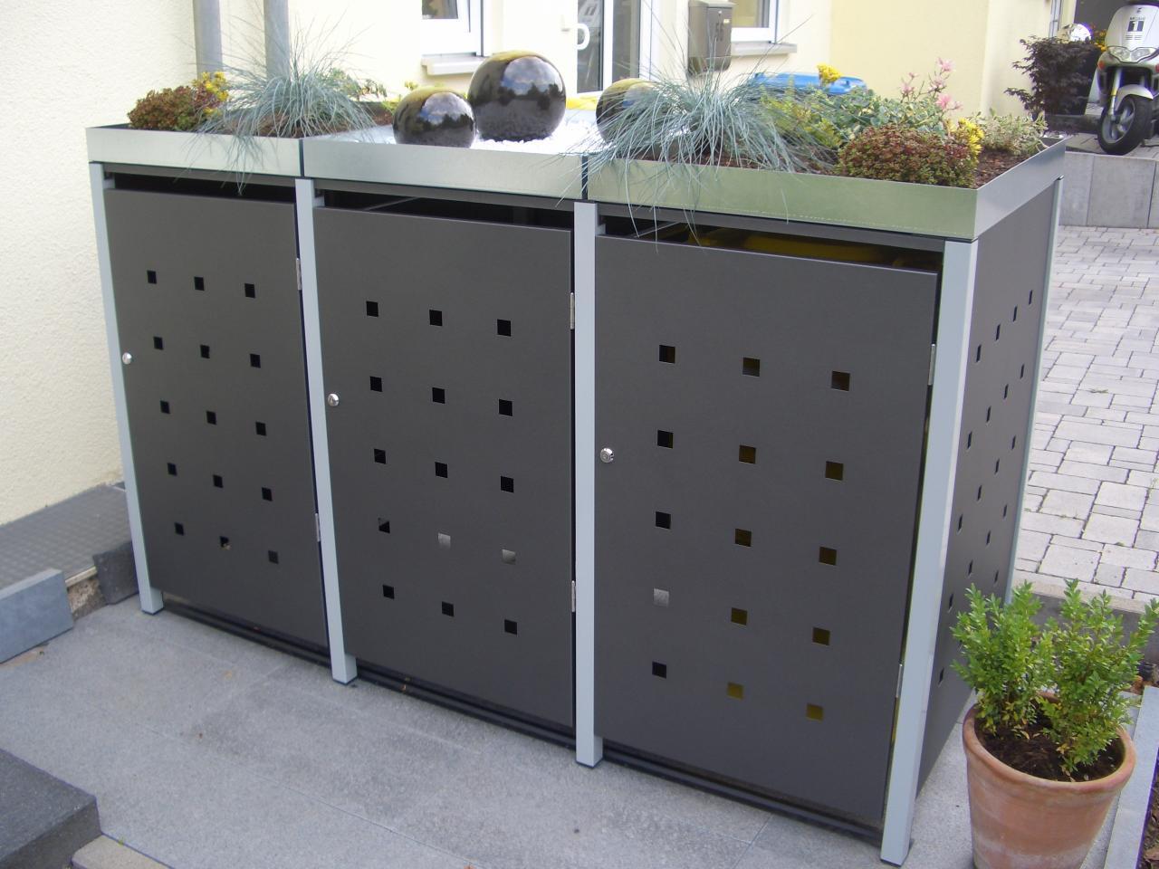 mülltonnenbox müllbox metall 120 liter - größe s